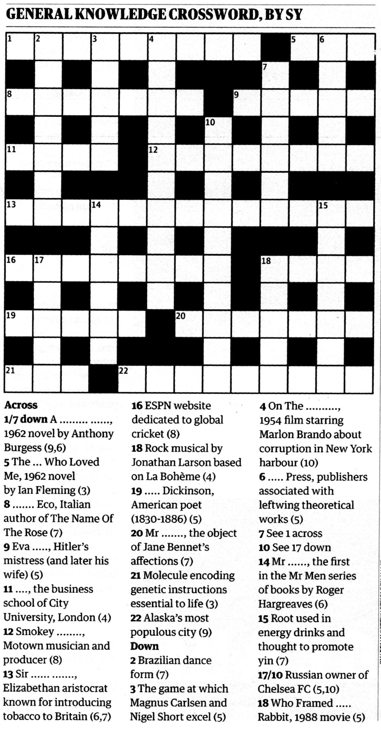 chair plan crossword
