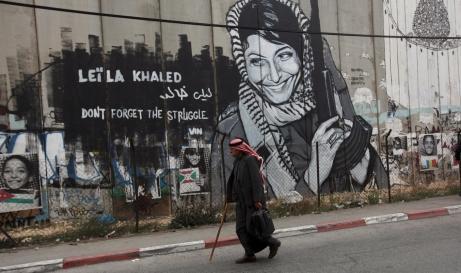 A mural of former PLO militant Leila Khaled